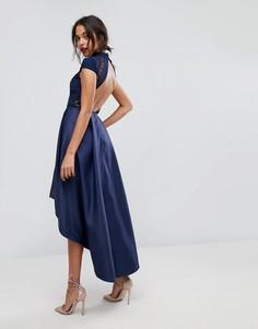 Платье миди с открытой спиной Chi Chi London - Темно-синий