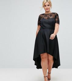 Приталенное платье миди с асимметричным краем и кружевной горловиной Chi Chi London Plus - Черный