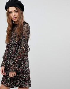 Платье с цветочным принтом и пайетками New Look - Черный