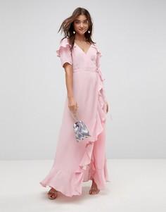 Платье макси с короткими рукавами, оборками и запахом ASOS - Розовый