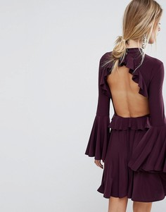 Короткое приталенное платье с оборкой ASOS - Фиолетовый