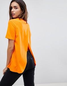 Футболка с запахом на спине ASOS - Оранжевый