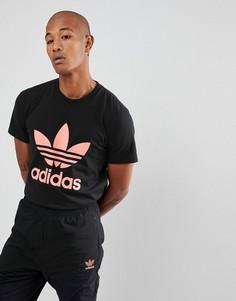 Черная футболка с логотипом-трилистником и принтом Hu Hiking на спине adidas Originals x Pharrell Williams CY7874 - Черный
