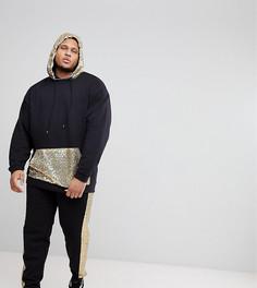 Спортивный костюм оверсайз с золотистыми пайетками ASOS PLUS - Черный