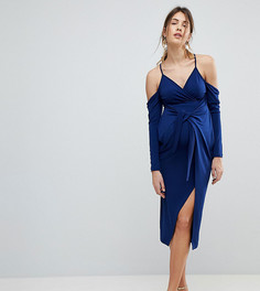 Платье миди с запахом и открытыми плечами ASOS MATERNITY - Темно-синий
