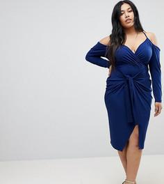 Платье миди с запахом и вырезами на плечах ASOS CURVE - Темно-синий