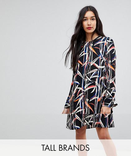 Свободное платье с графическим принтом и завязками на рукавах Y.A.S Tall - Мульти
