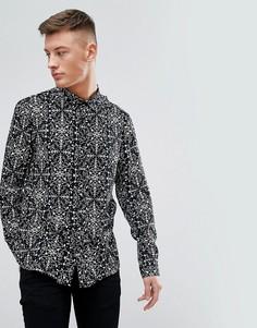 Черная рубашка с броским принтом New Look - Черный