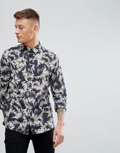 Черная рубашка классического кроя с принтом перьев New Look - Черный