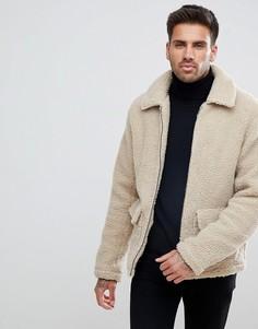 Светло-бежевая куртка из искусственного меха New Look - Светло-бежевый