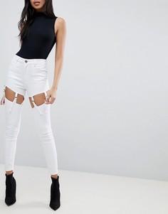 Белые джинсы скинни с завышенной талией и эффектом подвязок ASOS RIDLEY - Белый