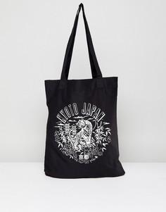 Черная сумка-тоут с принтом Kyoto ASOS - Черный