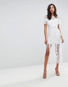 Платье миди с вышивкой и цветочным кружевом Stevie May - Белый