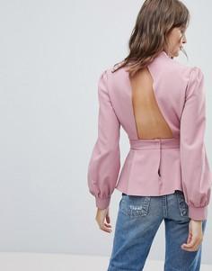 Блузка с открытой спиной PrettyLittleThing - Кремовый