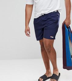 Темно-синие шорты для плавания с логотипом на поясе Fila PLUS Black Line - Темно-синий