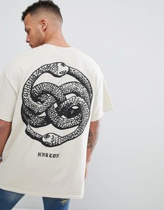 Oversize-футболка с принтом на спине HNR LDN - Бежевый Honour