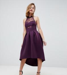 Платье для выпускного с халтером и кружевом на топе ASOS PETITE - Фиолетовый
