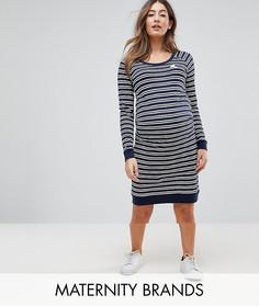 Платье в полоску с вышивкой Mamalicious - Темно-синий Mama.Licious