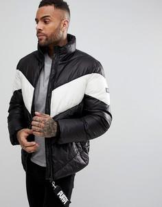 Дутая куртка с шевронообразной вставкой Puffa - Черный