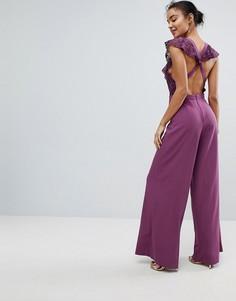 Кружевной комбинезон с запахом и широкими штанинами ASOS - Фиолетовый