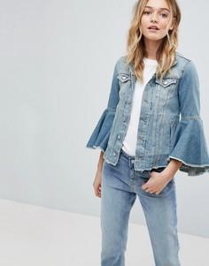 Джинсовая куртка с оборками на рукавах Pepe Jeans - Синий