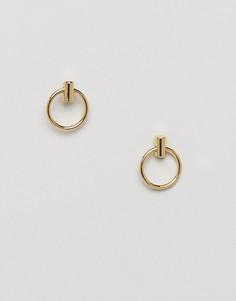 Серьги-гвоздики с кольцами Pieces - Золотой