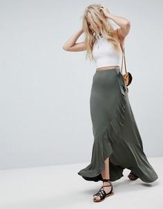 Трикотажная юбка макси с запахом и поясом ASOS - Зеленый