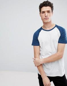 Синяя футболка с рукавами реглан Burton Menswear - Синий