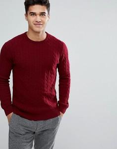 Вязаный джемпер из овечьей шерсти с круглым вырезом и узором косичка Moss London - Красный