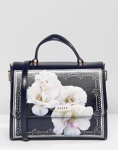Большая кожаная сумка-тоут с цветочным принтом Ted Baker - Темно-синий