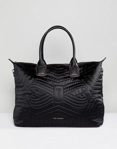 Большая стеганая нейлоновая сумка-тоут Ted Baker - Черный