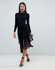 Платье миди с длинными рукавами, открытой спиной и асимметричной бахромой ASOS - Черный