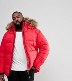 Красная дутая куртка с капюшоном с отделкой искусственным мехом River Island PLUS - Красный