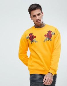Желтый свитшот с цветочной вышивкой boohooMAN - Желтый