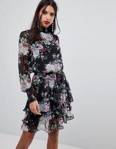Платье с цветочным принтом и высоким воротом Y.A.S - Мульти