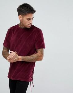 Бордовая велюровая футболка со шнуровкой boohooMAN - Красный