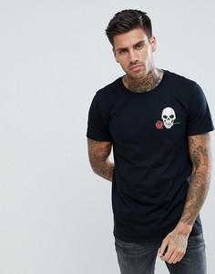 Черная футболка с вышитым черепом boohooMAN - Черный