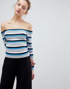 Джемпер в тонкую полоску с открытыми плечами Daisy Street - Синий