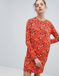 Платье с длинными рукавами и цветочным принтом Daisy Street - Красный