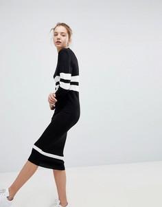 Свободное платье-джемпер с полосками в спортивном стиле Daisy Street - Черный