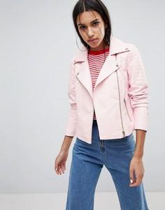 Байкерская куртка из искусственной кожи Noisy May - Розовый