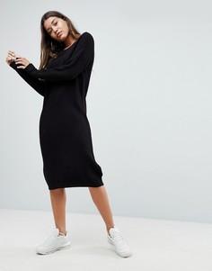 Удлиненное трикотажное платье-джемпер Noisy May - Черный