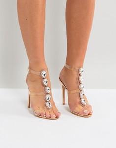 Золотисто-розовые босоножки на каблуке с прозрачными ремешками и отделкой Public Desire Azalea - Золотой