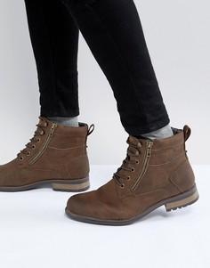 Коричневые ботинки в стиле милитари New Look - Коричневый