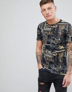 Черная футболка с принтом в стиле барокко River Island - Черный