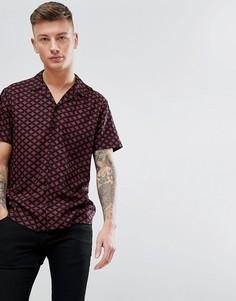 Бордовая рубашка с принтом New Look - Черный