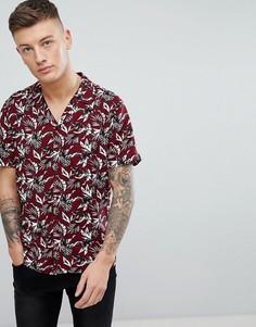 Бордовая рубашка с принтом листьев New Look - Красный
