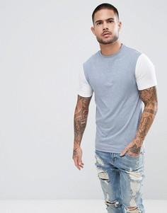 Темно-синяя обтягивающая футболка с белыми рукавами River Island - Темно-синий