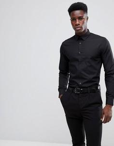 Черная поплиновая рубашка классического кроя New Look - Черный