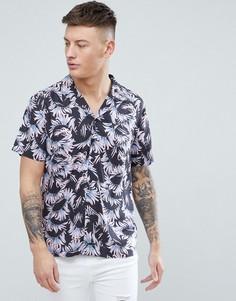 Темно-серая рубашка с лиственным принтом New Look - Серый